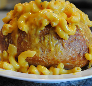 Butternut squash mac and cheese in a bread bowl