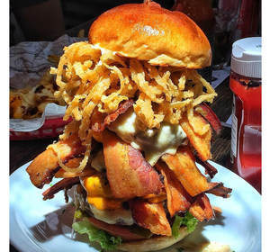 a huge, delicious monstrosity of a burger