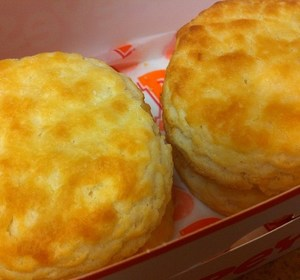 Two delicious Popeyes biscuits