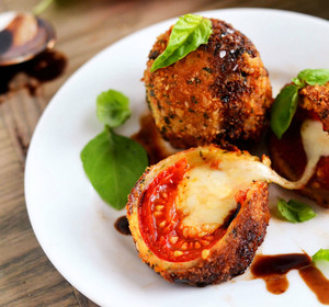 Fried Caprese bombs on plate