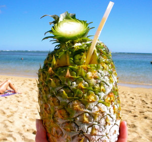 a drink in a pineapple