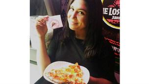 A lucky soul enjoying pizza camp