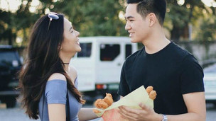 Our favorite couple ever sharing a romantic chicken nugget bouquet