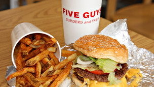 Five Guys burger, fries and drink