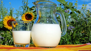milk glass and pitcher