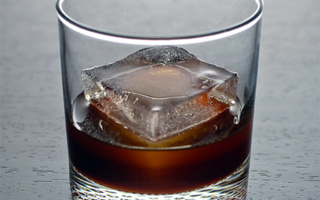 a Black Russian in a lowball glass