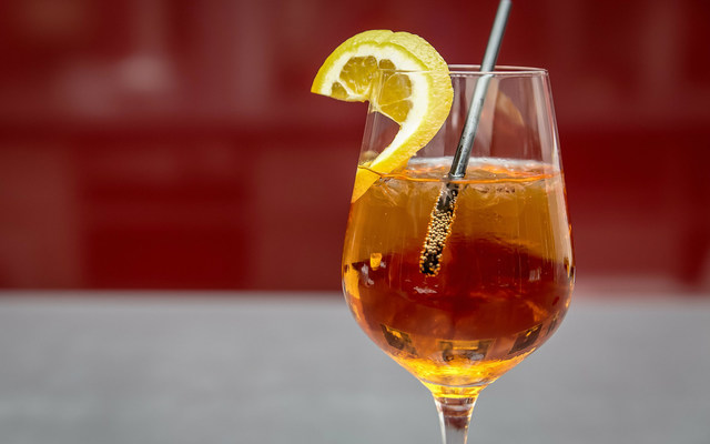 an Aperol Spritz in a glass