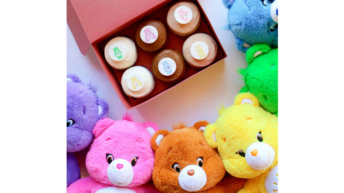 Exclusive Care Bears cupcakes with stuffed Care Bears