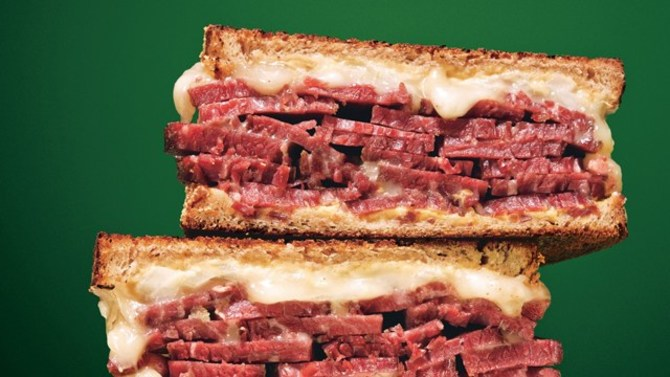 Grilled corned beef and Fontina sandwich