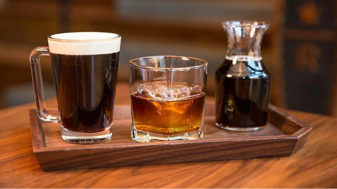 Starbucks Reserve barrel-aged coffee, plus a glass of whiskey