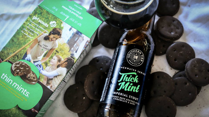 Thick Mint beer with Thin Mint cookies. Yum!